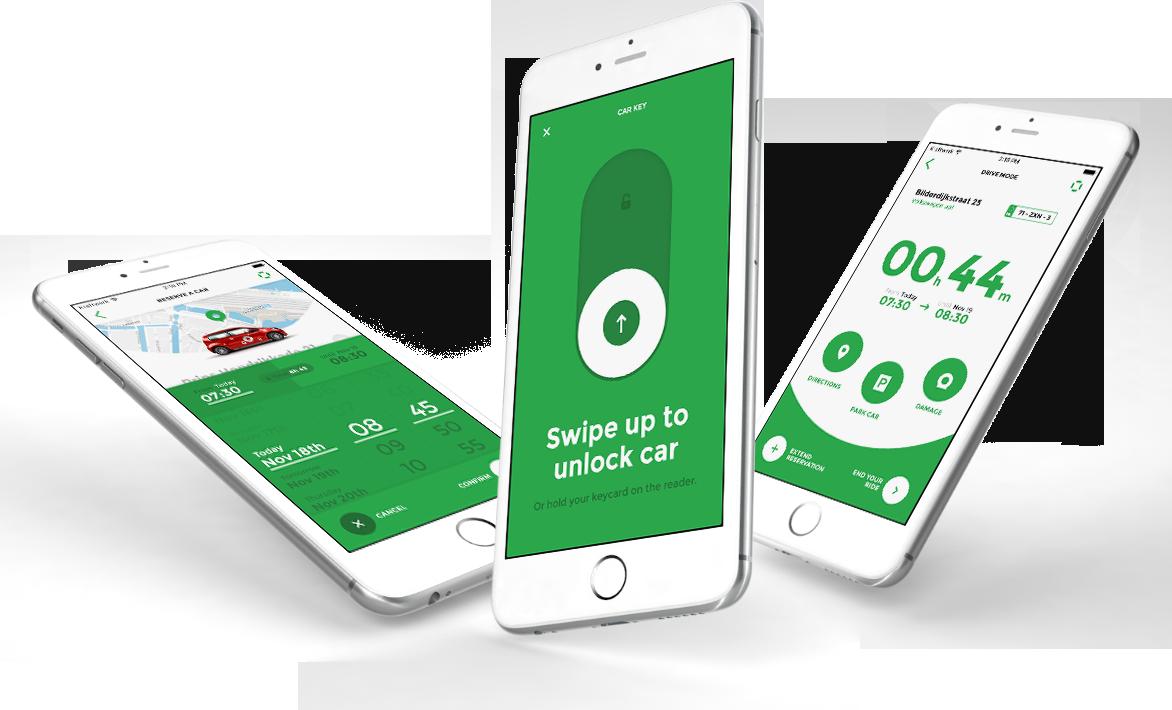 Het reserveren van een auto gaat volledig via de app